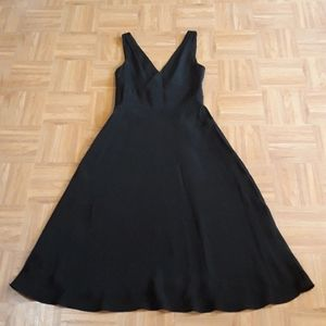 J.Crew Black 100% Silk  Fit And Flare V-neck Dress